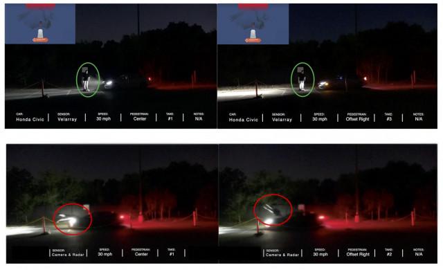 성인 표적 앞에 라이더 기반 PAEB가 50% 중첩되기 전에 정지한 차량(위)과 카메라 및 레이더 기반 PAEB가 성인 표적에 충돌하는 차량(아래) 이미지