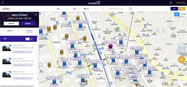 지식산업센터114 실거래가 지도 화면