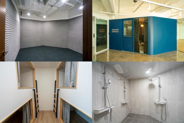 왼쪽 상단부터 시계 방향으로 스튜디오, 이미지 살롱, 샤워실, 수면실