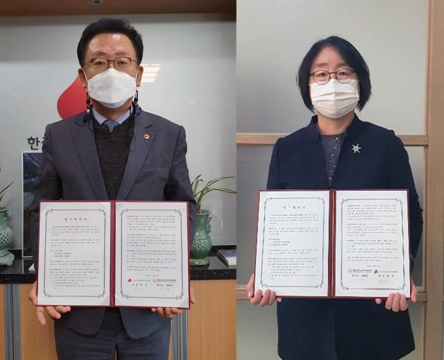 왼쪽부터 한국보건복지인력개발원장 허선, 중앙급식관리지원센터장 박혜경