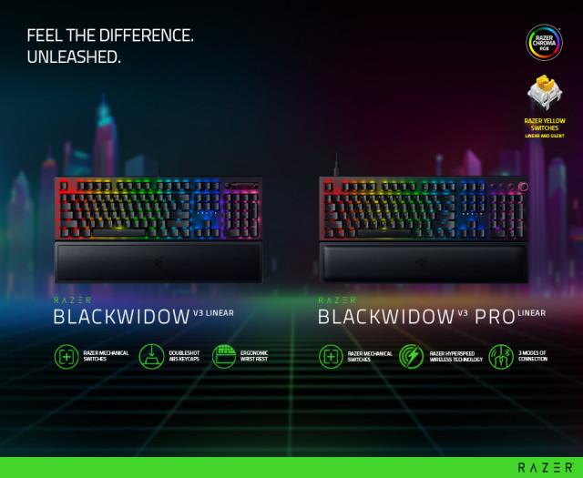 레이저가 게이밍 키보드 'Razer Blackwidow V3 Linear' 2종을 출시했다
