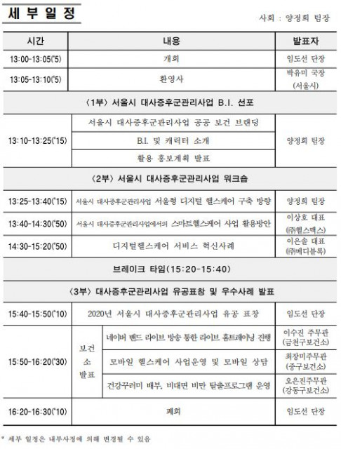 2020년 서울시 대사증후군관리사업 워크숍 및 B.I. 선포식 세부 일정표
