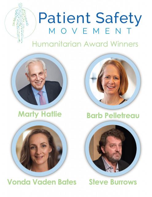 환자안전활동재단이 예방 가능한 환자 사망 퇴치와 인식 제고에 기여한 노력에 대해 스티브 버로우스, 폰다 바덴 베이츠, 마티 하틀리, 바브 펠레트로를 2020 인도주의상 수상자로 선...