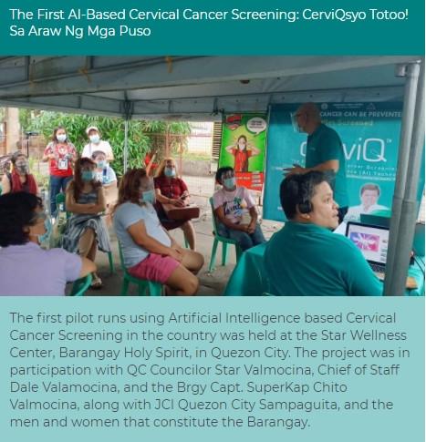 산부인과 의사인 필리핀 CERVIQ의 Dr. Bogs가 아이도트 '써비레이'를 현장에서 테스트를 하고 있다
