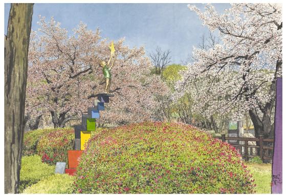 오용길, 별을 든 소년-안양예술공원, 한지에 먹과 채색, 100x145cm, 2020