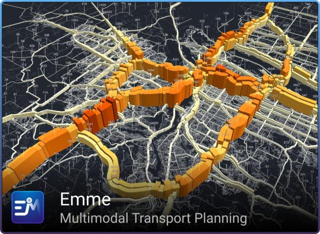 Metro(www.oregonmetro.gov/)의 데이터를 사용해 Emme(www.inrosoftware.com/emme)로 제작한 이미지