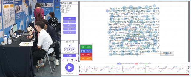 왼쪽부터 제18회 대한민국 교육박람회 리더스아이 부스에서 읽기능력을 측정 중인 관람객과 진단결과를 리더스아이 웹서비스를 통해 본 이미지