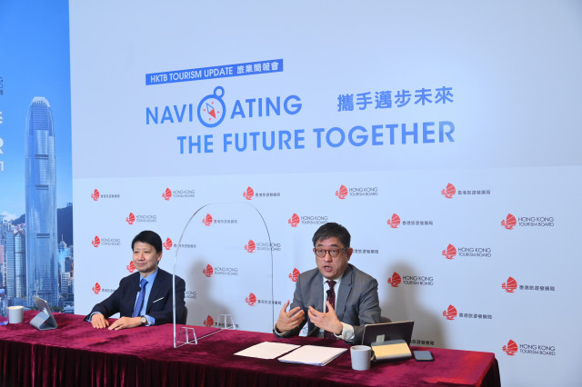 HKTB Chairman Dr YK Pang (left) and Executive Director Mr Dane Cheng (right) shared their analysis o...