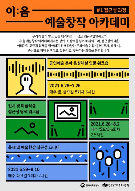 한국장애인문화예술원이 '이:음 예술창작 아카데미 2021'를 시작한다