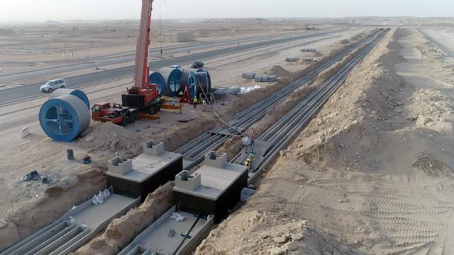 대한전선의 중동 쿠웨이트 전력망 구축 현장