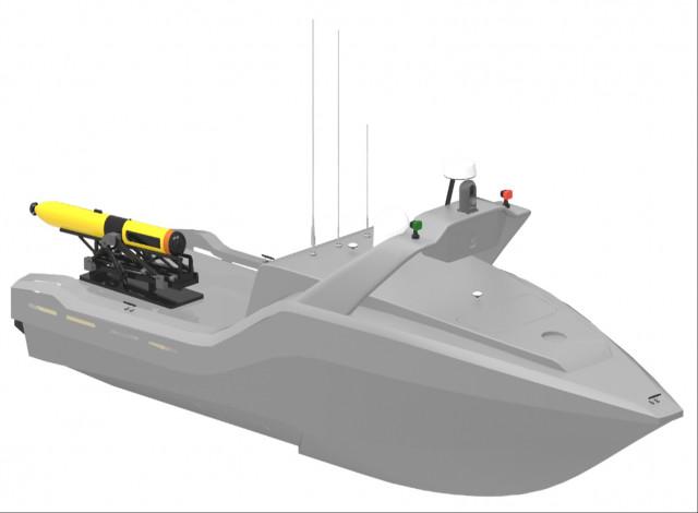 한화시스템 SAS AUV가 탑재된 무인잠수정(USV)