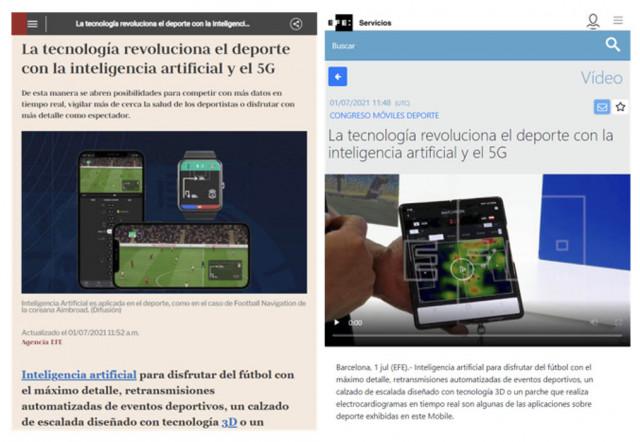 스페인 현지 언론이 비중있게 다룬 에임브로드의 축구 AI 기술과 축구 빅데이터(출처: EFE)