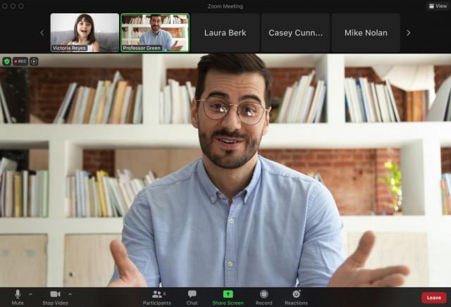 포커스 모드가 적용된 참가자 화면
