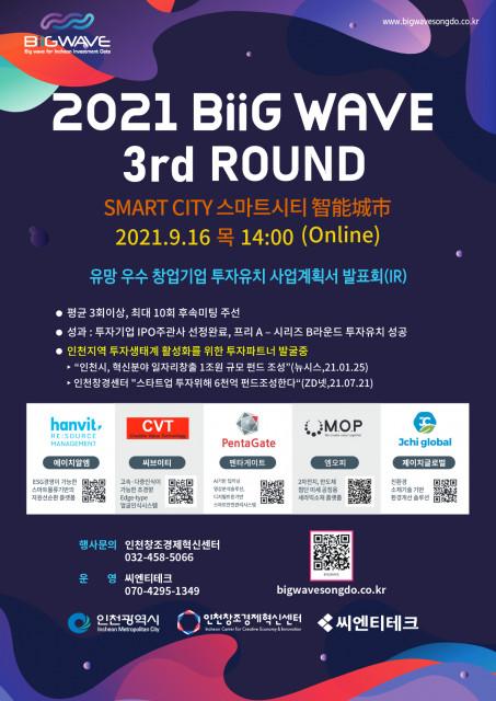 빅웨이브 제3회 투자유치 사업계획 발표회(IR) 개최 포스터